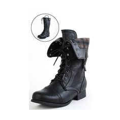 Diva Lounge Jetta25 Black Combat Back Zip Mid Calf Boots and Womens... ❤ liked on Polyvore
