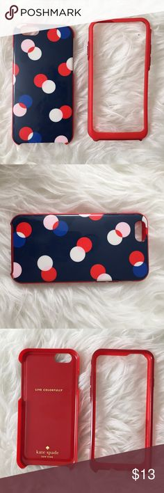 """Kate Spade """"Live Colorfully"""" polkadot iPhone6 case Used, normal wear. Minor scratches on the back! the bumper is darker than the red in the case :) very protective and easy to remove and clean!! kate spade Accessories Phone Cases"""
