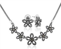 Plum Blossom. Full Jewelry Set. Ninabox® Recommend. Plum Shape Design Sterling Silver Plated Alloy Jewelry Sets with CZ Diamond. Necklace and Earrings Sets.