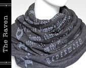 scarf, book scarf, text scarf, infinity scarf, literary scarf