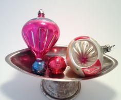 Vintage Glass Ornament Pink/Blue Red/Silver by trailsofthewest, $18.00