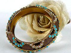 Vintage Beaded Bangle Bracelet for Small Wrist