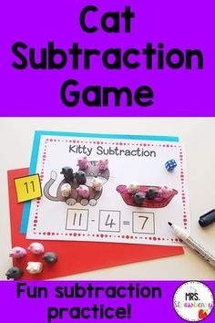 These fun cat themed subtraction games are perfect for making math fun! These printable games are easily laminated for multiple uses. They're perfect to use with playdough, counters or even mini erasers! I use the Kmart cat erasers with this game. Great for kindergarten, first or second grade. Subtraction Activities, Phonics Activities, Math Resources, Number Recognition Activities, Second Grade, Fourth Grade, Early Math, First Grade Classroom, Australian Curriculum