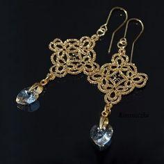 Tatting - Art Lace: Gold Earrings