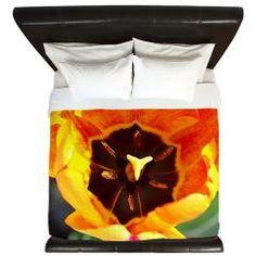 Orange Tulip King Duvet
