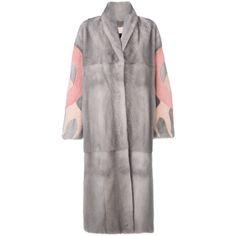 Liska patterned sleeve coat (581.515 RUB) ❤ liked on Polyvore featuring outerwear, coats, grey, gray coats, grey mink coat, pattern coat, mink fur coat and mink coat