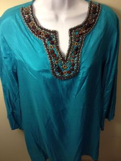 NWT $99 Chico's HAND BEADED SEA BLUE  SILKY FEEL BLOUSE TOP SHIRT SIZE 2 #Chicos #Blouse