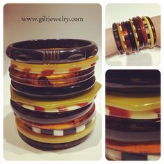 A stack of various thin 1930-1960's bangles. Wear a few at a time or all at once!  $18-$78 #giltjewelry #bakelite #lucite #vintage  #plastic #vintagejewelry #bangles #vintagebracelets