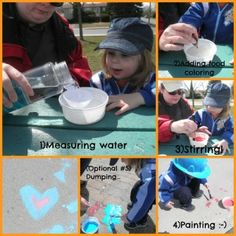 sidewalk chalk paint from #Glittering Muffins #preschool