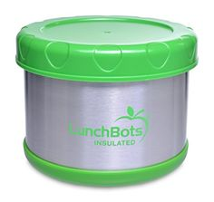Kids' Lunch Boxes - LunchBots Thermal 16 oz All Stainless Steel Interior  Insulated Food Container Stays Warm for up to 5 Hours or Cold for 10 Hours  Leak Proof Soup Jar for Portable Convenience  Lime Green >>> Continue to the product at the image link.