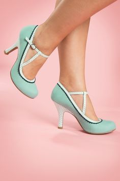 1950s Ankle Strap Shoes in Mint with Polka Dot Straps and Heels