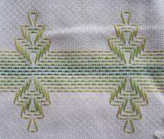 Asciugamani ricamati Huck Weaving - punto filz di A mano con Amo...