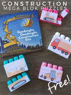 """We have really been enjoying ourGoodnight, Goodnight, Construction Site Unit! I wanted to create a few fun Mega Blok Puzzles to go along with the construction vehicles found in the book. The """"puzzle"""" aspect also ties in with the building theme that we have been focusing on! You only need a few items to recreate this project for your little... Read More"""