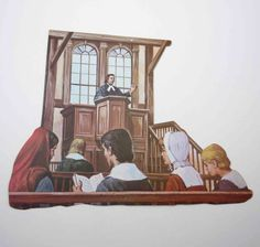 "1968 Eureka 'Meeting House' Die Cut Decoration. Three Sizes: 6 3/4"", 11"", 16"""