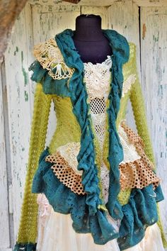 Sweater cardigan upcycled sweater faerie eco chic ruffle