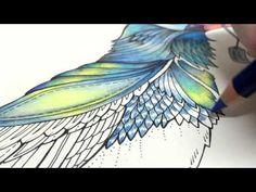 ASMR Adult Coloring Enchanted Forest Blue Bird 8 Blended pencil Prismacolor Premier - YouTube