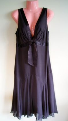 Ladies Stunning Ted Baker Chocolate brown SILK Evening dress size 14 VGC £29.50