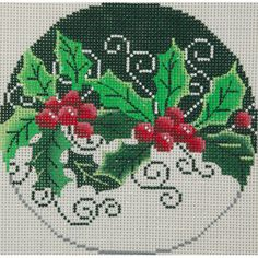 holly needlepoint ornament