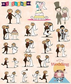 INSTANT DOWNLOAD Bride & Groom Wedding Doodle by SasiyaDesigns, $5.00