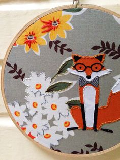 paint and embroider? Dapper Orange Fox in Bow tie and Glasses Hoop Art by islandbaby, Nursery Art, Woodland Art
