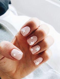 nude nails with white star nail art nail designs for summer nail designs for short nails step by step full nail stickers nail art stickers at home nail art strips Star Nail Art, Star Nails, Nude Nails, My Nails, Coffin Nails, S And S Nails, Stiletto Nails, Glitter Nails, Blush Nails