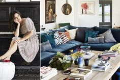 Rachel Bilson's LA ranch house has a boho vintage vibe. The living room features a velvet-clad sectional, rustic wood coffee table, walls clad with portraits, modern art and mirrors, and a sea of pretty throw pillows.