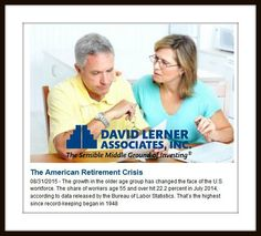 Growth in the older age group has changed the face of the U.S. workforce.  many Americans over 55 are not prepared for retirement - nearly 29 percent have neither retirement savings nor a traditional pension plan.  http://news.davidlerner.com/retirement.php?include=145820
