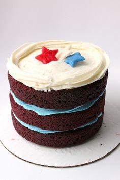 Wonderfully 4th of July worthy Red Velvet Cake. #red #velvet #cake #food #baking #dessert #stars