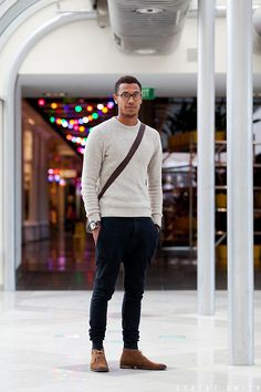 Fitted sweater and slim slacks