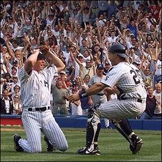 David Cone couldn't believe it as Joe Girardi ran out to congratulate the pitcher on just the 16th perfect game in MLB history. July 18, 1999