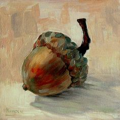 acorn - still life Still Life Art, Autumn Art, Love Art, Painting Inspiration, Painting & Drawing, Simple Oil Painting, Autumn Painting, Watercolor Paintings, Still Life