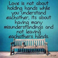 Love is not about holding hands while you understand each other, it's about having many misunderstandings and not leaving each others hands.