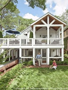 Adding a Double Porch to Home - After http://betweennapsontheporch.net/porch-design-ideas-build-a-porch-way-up-high/