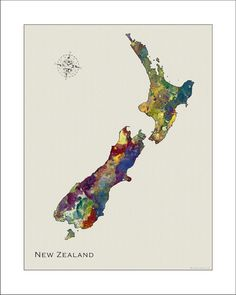 NEW ZEALAND Watercolor Map  on a Neutral by WaterColorMaps on Etsy