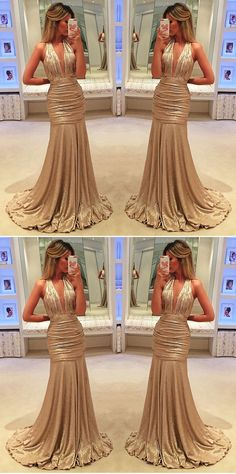 elegant gold halter prom party dresses with plunging neckline, mermaid evening dresses for formal occasion.