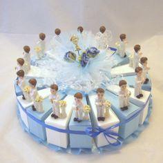 gteau avec 16 boites un baptme une communion un mariage dco de table - Gateau Dragee Mariage