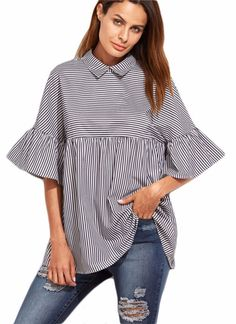 Ruffled Bell Sleeves Shirt