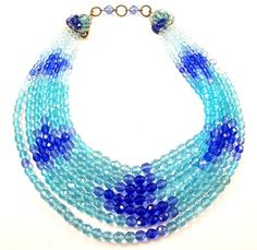 Coppola E Toppo Aqua Royal Blue Crystals 7 Strand Necklace | eBay
