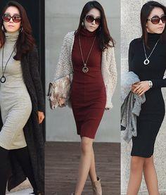 Long Sleeve High Collar Pullover Knitted Slim Hip Women Dress