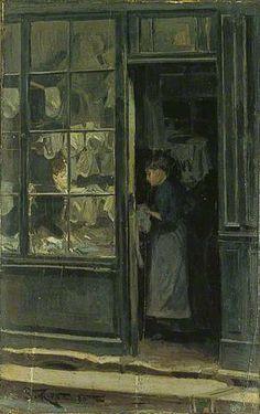 The Laundry Shop, 1885 - Walter Richard Sickert Camden Town Group Painter Laundry Shop, Laundry Art, Walter Sickert, Glasgow Museum, Arcade, Victorian London, Victorian Street, Victorian Art, Art Deco