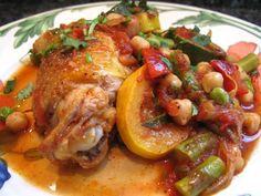 ragoût de poulet aux légumes de printemps et pois chiches à la marocaine