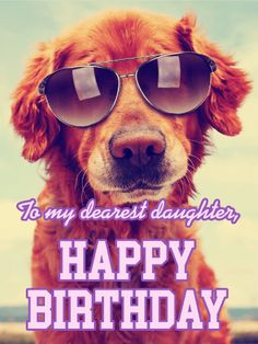 Hip Dog Happy Birthday Card for Daughter