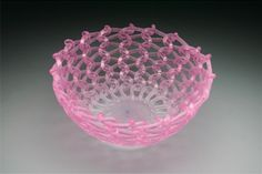 Embrace x x Kiln-Cast lead crystal knitted glass 2007 Pink Depression Glassware, Knit Art, Cast Glass, Unusual Art, Crystals Minerals, Fused Glass, Glass Bottles, Decorative Bowls, Knitting Patterns