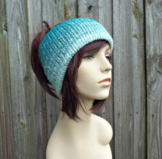 Cream and Teal Double Knit Tube Hat For Dreads - Messy Bun Hat Dread Beanie Dreadlock Headband Head Wrap Head Sock - READY TO SHIP