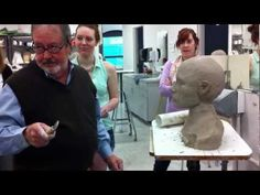 Sculpting the head in clay by Angus Kent Lamar, Professor of Art. - YouTube