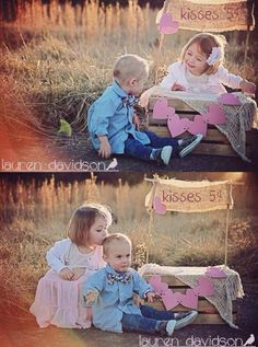 Valentines mini session with kissing booth. Kisses 5 cents kissing booth prop made from crate and burlap. Valentines photo ideas with baby, infant, toddler boy and girl. Boy and girl baby and toddler Valentines photography ideas.