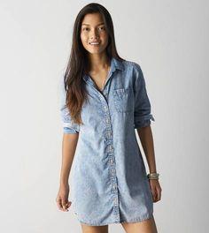 Light Wash AEO Chambray Shirt Dress