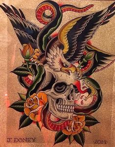 American traditional chest tattoo Battle Royale