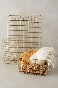 Forged Wire Baskets for the bathroom shelves #anthropologie