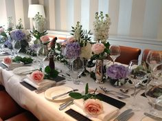 Pale pink , purple and white table set up in our Saddle Room restaurant Pale Pink, Pink Purple, Wedding Bouquets, Wedding Flowers, Reception Decorations, Table Decorations, Trophy Rooms, Table Set Up, Wedding Tables